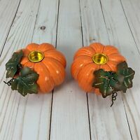 Walnut Creek Pumpkin Candle Holders Metal Leaves Set 2 Autumn Fall Thanksgiving
