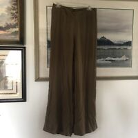 Chicos Womens Sz 0.5 Brown Pull On Elastic Waist Rayon Wide Leg Pants A1786