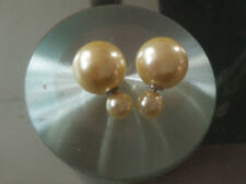 ZWFRJ2-30 a pair fancy pretty 16mm&8mm light yellow shell beads earrings studs