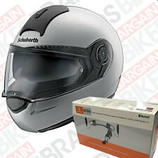 Schuberth C3 Basic Flip Front Motorcycle Helmet with Sena SC10U  - Gloss Silver