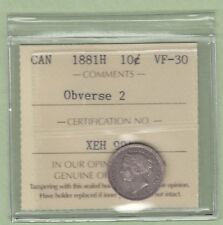 1881-H Canadian 10 Cents Silver Coin - Obverse 2 - ICCS Graded VF-30