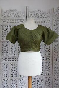 "Olive green silk Indian Bollywood dress Choli sari blouse 40"" bust sku17242"