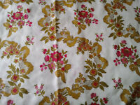 VTG MCM Flower Power Pinch Pleated Drape Curtain 2 Panels Red Gold Ribbon Chintz