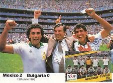 (33296) Coppa Del Mondo Calcio Cartolina Mexico 2 - 0 Bulgaria / Mexico 1986