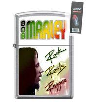 Zippo 7108 Bob Marley Rock Roots Reggae Chrome Full Size Lighter + FLINT PACK