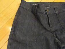 Womens 10P 10 Petite Ann Taylor Modern Fit Dark Blue Wash Jeans Flare Stretch
