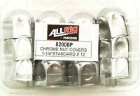 Pack Of 12 Round-Top Chrome Nut Covers To Suit 1¼ Inch Wheel Nuts