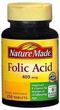 Folic Acid, 400 mcg, 250 Tablets EXP 09/21