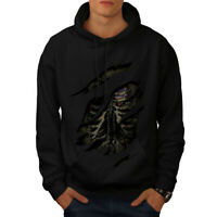 Wellcoda USA Skeleton Death Mens Hoodie, Skeleton Casual Hooded Sweatshirt