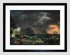 CLAUDE JOSEPH VERNET FRENCH SHIPWRECK BLACK FRAMED ART PRINT PICTURE B12X5153