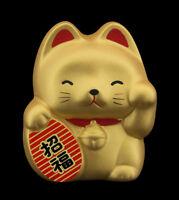 Hucha Baby Gato Japonés Dorado 7cm Cerámica Fabricado en Japón Maneki Neko 40657