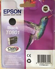 AUTHENTIC EPSON PHOTOGRAPHIC INK/BLACK/T0801/CLARIA/COLIBRI/ NEW SEALED UNOPENED