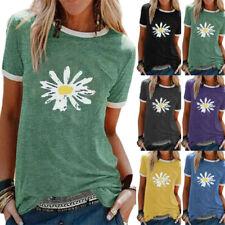 Women Summer Casual Small Daisy Print Short Sleeve T Shirt Crew Neck Blouse Tops
