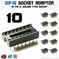 10Pcs 16Pin Dip DIP-16 Socket Pcb Mount Connector IC SIP Adaptor