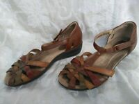 Womens 8.5M Earth Origins By Earth Posy Leather Sandals Brown Tan Woven T Strap