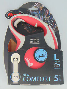 FLEXI NEW COMFORT RETRACTABLE TAPE LEASH 16FT LARGE DOGS GERMANY SIZE L RED