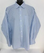 Ted Baker London Men's Blue White Cotton Striped Dress Shirt Size 17.5 34/35