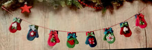 """Lot of Two Christmas Tiny Mittens Banner 50"""" Each New Cloth"""