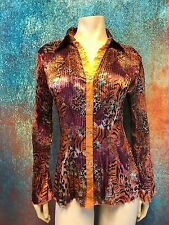 True Rock Women's Blouse Gold Accordion Pleated Button Down Animal Print Size M