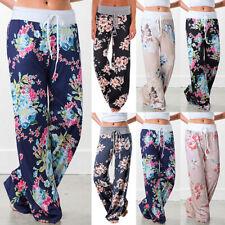 LADIES FLORAL PRINT PALAZZO TROUSERS WOMEN SUMMER WIDE LEG PANTS PLUS SIZE 10-20