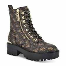 Women's GUESS Fearne Lug Sole Lace-Up Booties Brown Guess Logo