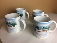 Vintage OTAGIRI Japan Winter Wonderland Cup Mug ~ Set of 4 Horse And Carriage