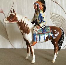 BESWICK HORSE PINTO WITH MOUNTED INDIAN No 1391 SKEWBALD GLOSS  PERFECT RARE