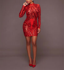 Women Sexy Sheer Mesh Long Sleeve Sequin Geometric Paillette Sparkly Slim Dress