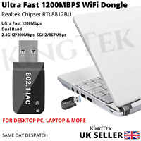 1200Mbps WiFi Dongle 2.4/5Ghz USB Dual Band Wireless Adapter 802.11 AC Laptop PC