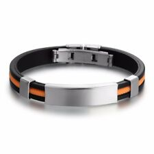 Fashion Mens Black Rubber Silver Stainless Steel Wristband Cuff Bangle Bracelet