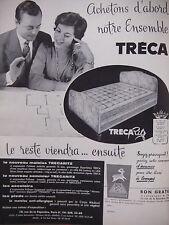 PUBLICITÉ 1958 MATELAS ET SOMMIER TRÉCA RITZ - SAVIGNAC - ADVERTISING