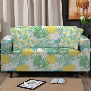 Pineapple Tropical Sofa Couch Chair Cushion Stretch Cover Slipcover Set Decor