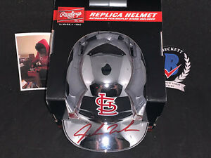 Jordan Walker Cardinals Auto Signed Chrome Mini Helmet Beckett Witness COA .