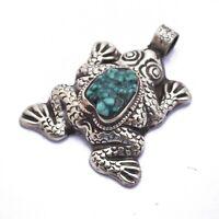 Turquoise Frog Pendant Tibetan Fertility Transition Totem Nepal PD1032b