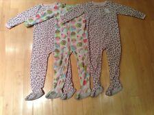Carters's 5T Girls Fleece Footie Zip-up PJ Pajamas-EUC! Leopard + Cupcakes- lot