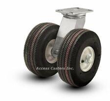 """21PN295S 21"""" Dual Wheel Pneumatic Heavy Duty Swivel Plate Caster, 4840 lbs Cap"""