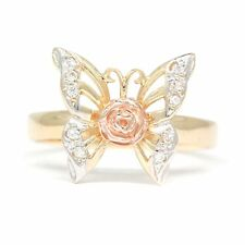 Ladies Adorable 14K Two Tone Gold CZ Rose Butterfly Ring Jewelry