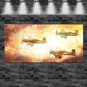 XXL Weltkrieg Flugzeuge Flammen 160cmx70cm auf Leinwand Keilrahmen Loft Bild WW2