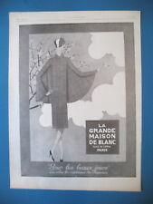 PUBLICITE DE PRESSE LA GRANDE MAISON DE BLANC ILLUSTRATION LUZA FRENCH AD 1926