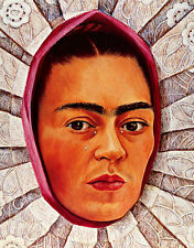 Self Portrait in Medaillon A1+ by Frida Kahlo Quality Canvas Print