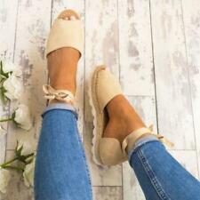 Women's Ankle Strap Sandals Espadrilles Platform Peep Toes Summer Shoes Size UK