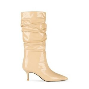 New Fashion Women Outdoor Pointy Toe Kitten Heel Mid Calf Patent Leather Boots L