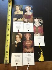 5 Vtg Paper Bookmarks- Wives Of Henry VIII- With Tassels