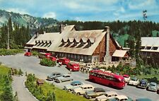 VTG POSTCARD MT RAINIER NAT'L PARK TOUR BUS PARADISE INN WASHINGTON WA / A66