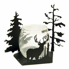 Buck Deer black metal votive candle holder