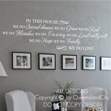 House Rules In This House WE DO LOVE Wall Quote Home Family Decal Vinyl Sticker