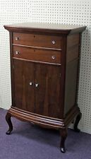Antique Rosewood & Mahogany 2 Drawer/Door Music Stand Cabinet With Glass Knobs