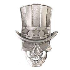Pin's épinglette tête de mort Oncle Sam Skull blouson gilet cuir moto custom