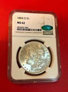 1884 O MORGAN SILVER DOLLAR NGC MS 62 CAC