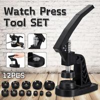Watch Back Case Press Opener Crystal Glass Closer Fitting Repair Tool &12Pcs Kit